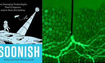 collage of images: book title and text, NASA logo, granular experi