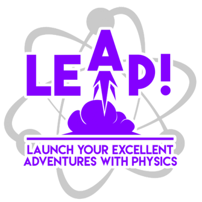 """logo of a rocket launching insdide an atom, with the words """"Launch Your Excellent Adventures with Physics"""""""